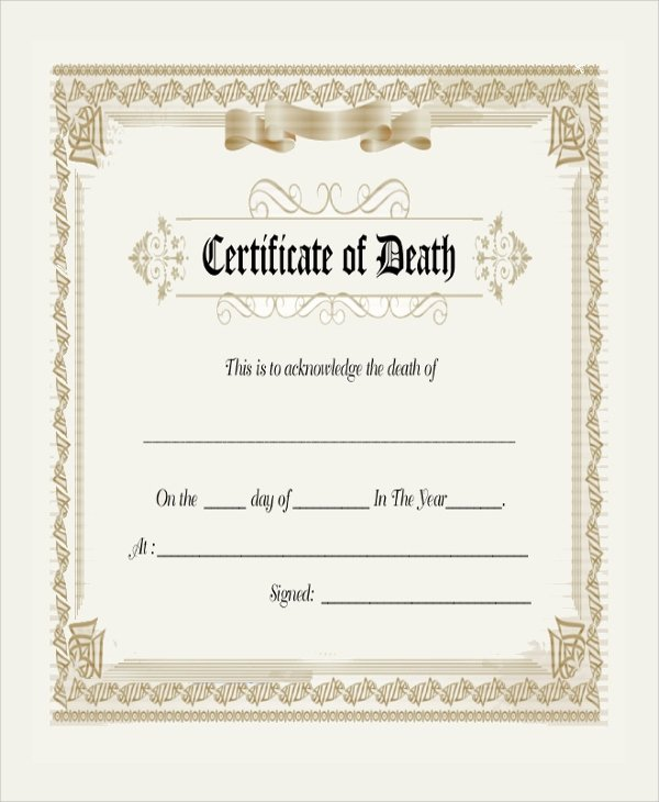 Blank Death Certificate Template Elegant 9 Sample Blank Certificates