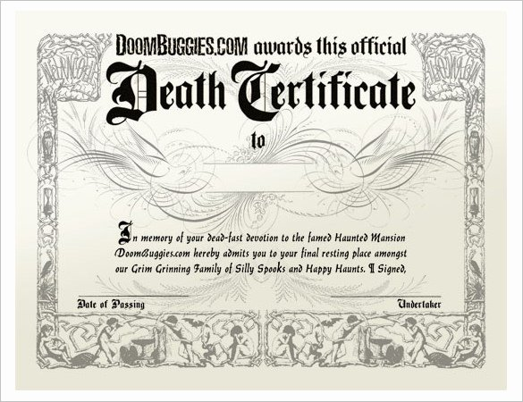 Blank Death Certificate Template Fresh 13 Sample Death Certificate Templates Pdf Doc