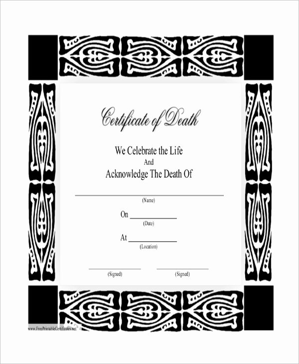 Blank Death Certificate Template Inspirational 43 Sample Certificates
