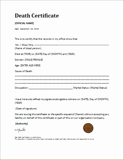 Blank Death Certificate Template Inspirational Medical Certificate Death Template Launchosiris