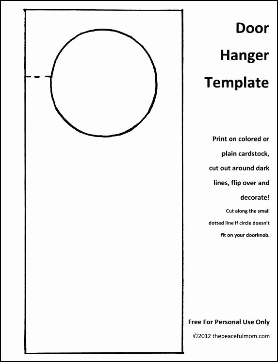 Blank Door Hanger Template Best Of Blank Door Hangers Printable Awesome Hanger Template