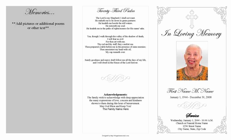 Blank Funeral Program Template Awesome Funeral Program Template