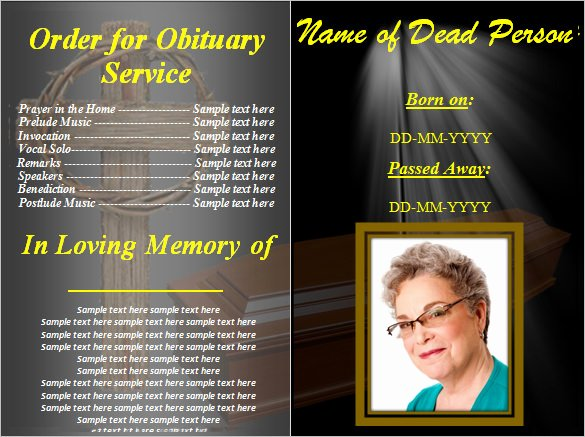 Blank Funeral Program Template Beautiful 5 Blank Obituary Templates Doc Pdf