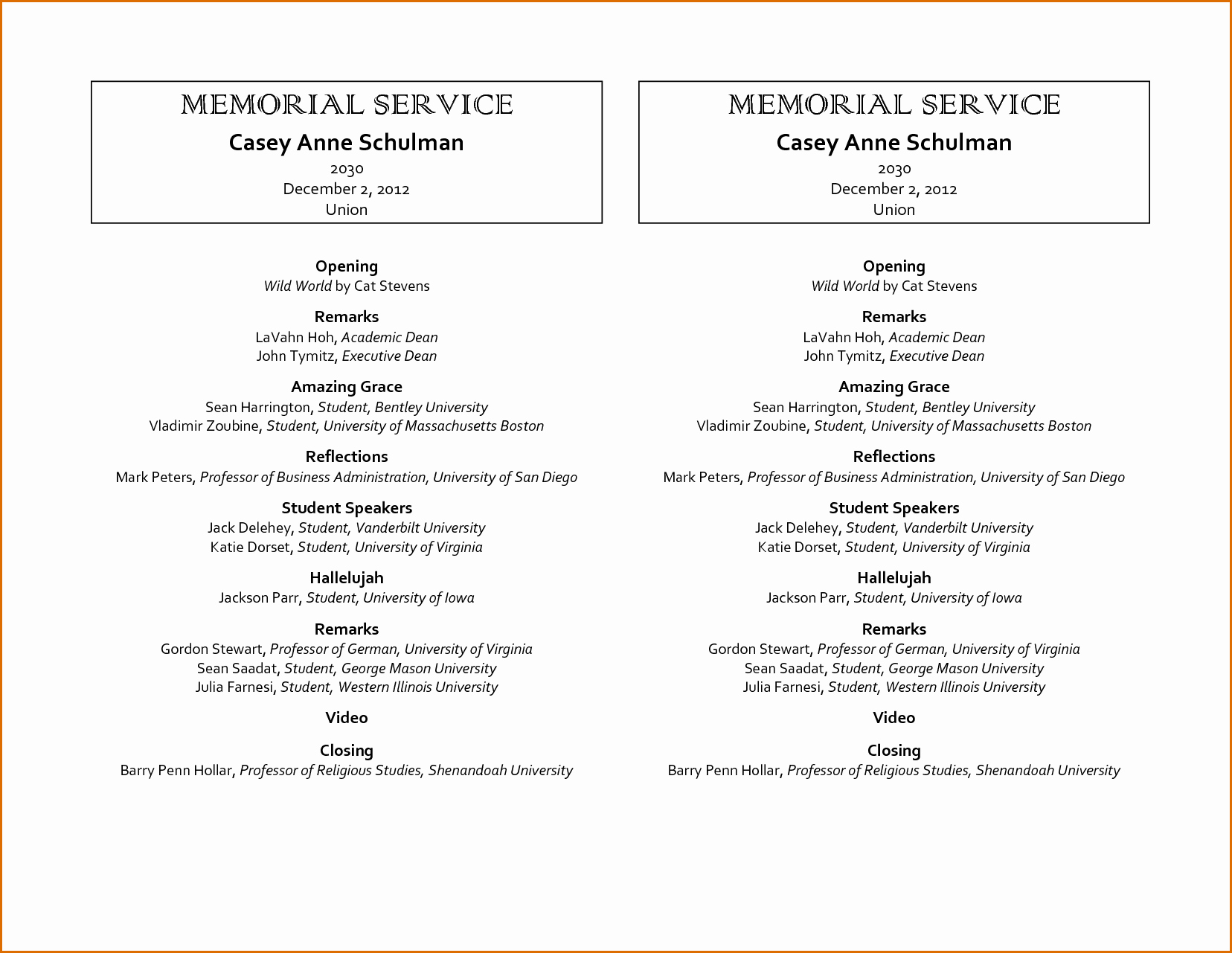 Blank Funeral Program Template Fresh 9 Memorial Service Program Template