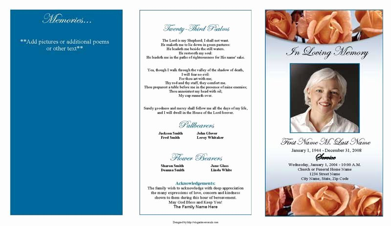 Blank Funeral Program Template Fresh Editable Trifold Blank Funeral Program Template with Blue