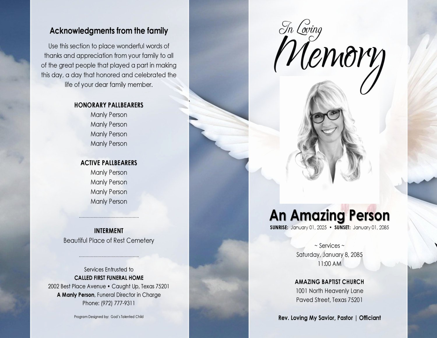 Blank Funeral Program Template Lovely 11x17 Heavenly Dove Printable Funeral Program