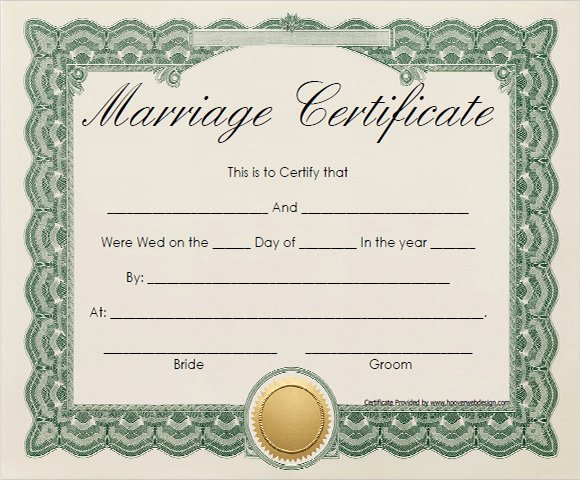 Blank Marriage Certificate Template Fresh 18 Sample Marriage Certificate Templates to Download