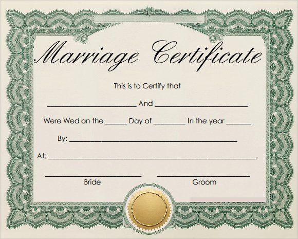 Blank Marriage Certificate Template Fresh 19 Marriage Certificate Templates