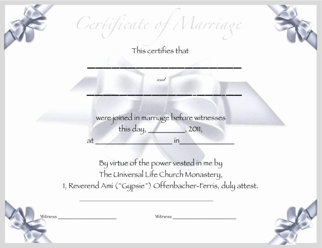 Blank Marriage Certificate Template Fresh Marriage Certificate Template