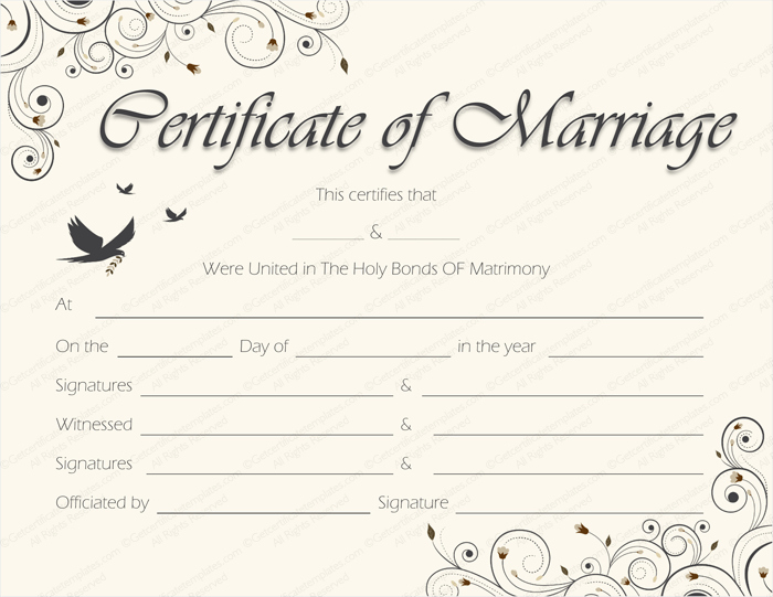Blank Marriage Certificate Template Fresh Spring Blossoms Marriage Certificate Template Get