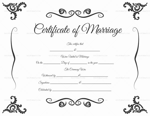 Blank Marriage Certificate Template Lovely Marriage Certificate Template 22 Editable for Word