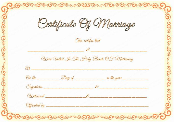 Blank Marriage Certificate Template Luxury Free Editable Marriage Certificate Template