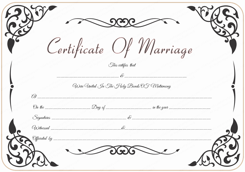 Blank Marriage Certificate Template New 9 Best Of Marriage Certificate Template Free