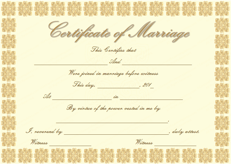 Blank Marriage Certificate Template New Elegant Marriage Certificate Template Golden Edition