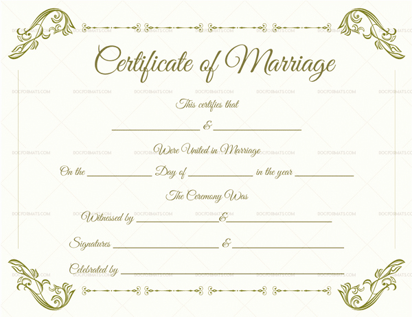 Blank Marriage Certificate Template Unique Blank Fillable Marriage Certificate format – Doc formats