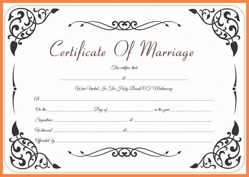 Blank Marriage Certificate Template Unique Blank Wedding Certificate Templates