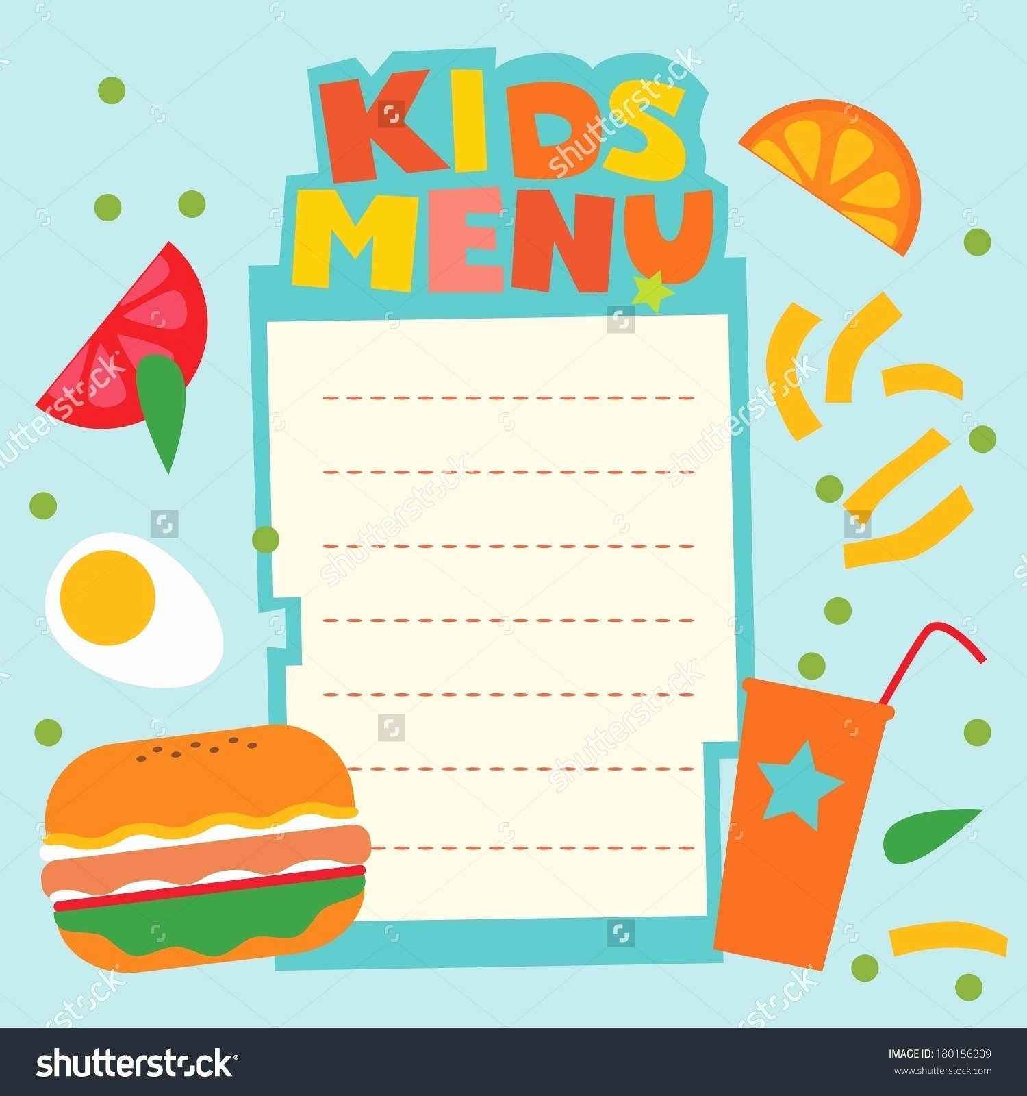 Blank Menu Template Free Awesome Blank Menu Template for Kids