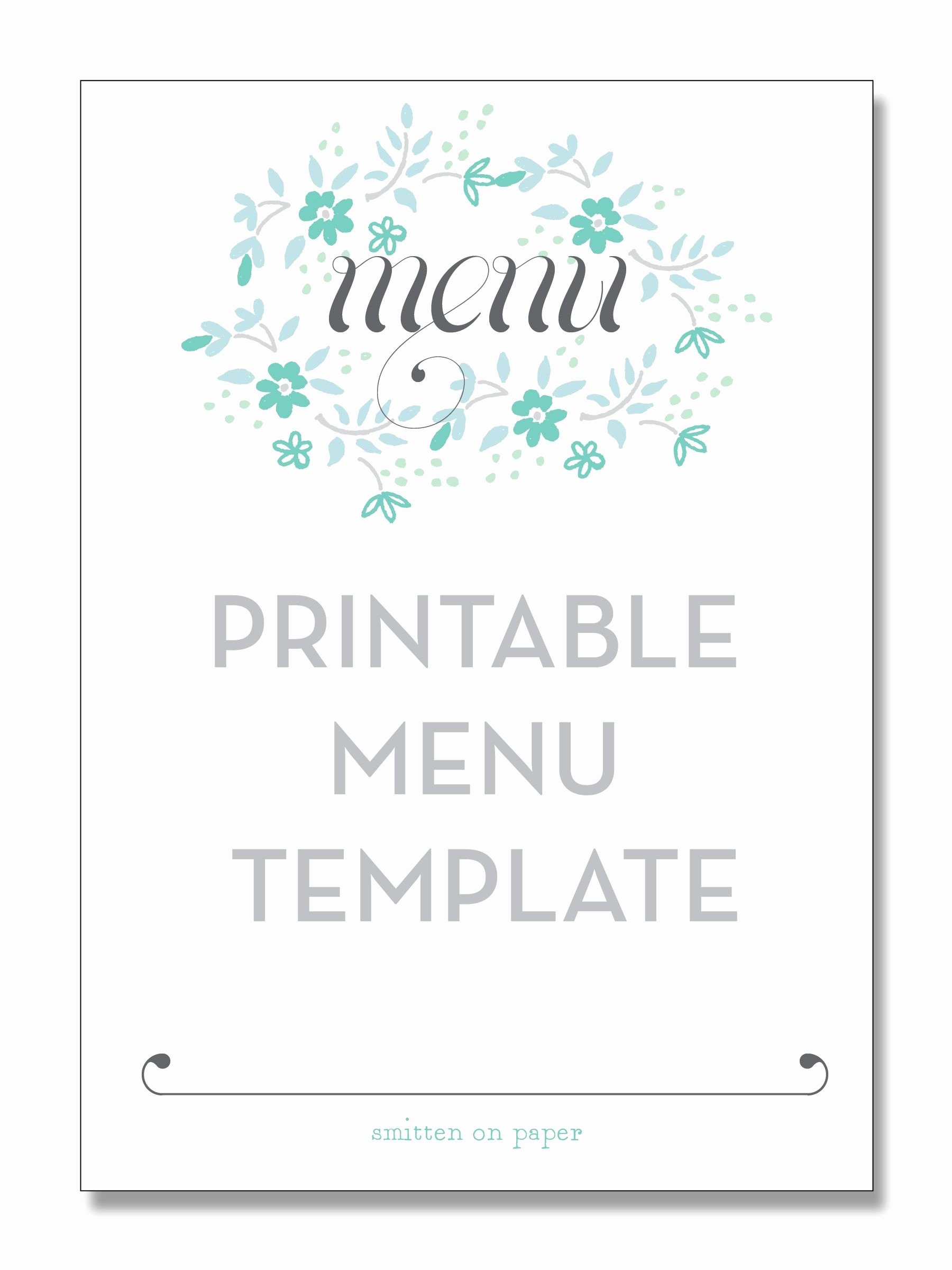 Blank Menu Template Free Elegant Freebie Friday Printable Menu Party Time