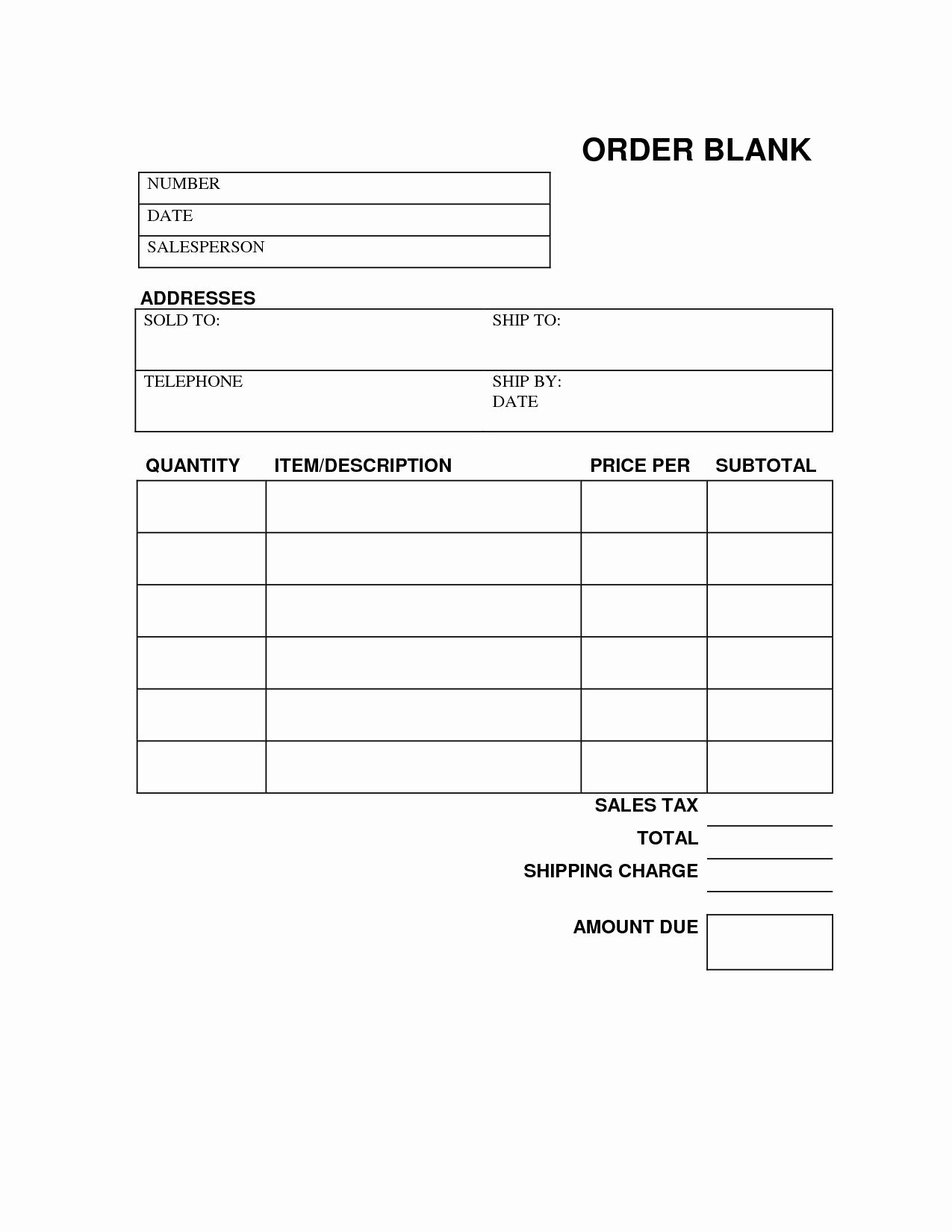 Blank Money order Template New Blank order form Printable
