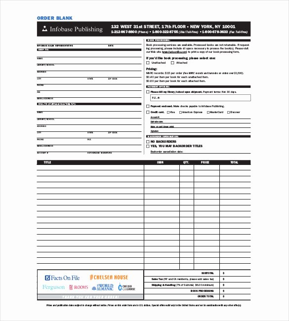 Blank order form Template Fresh 41 Blank order form Templates Pdf Doc Excel
