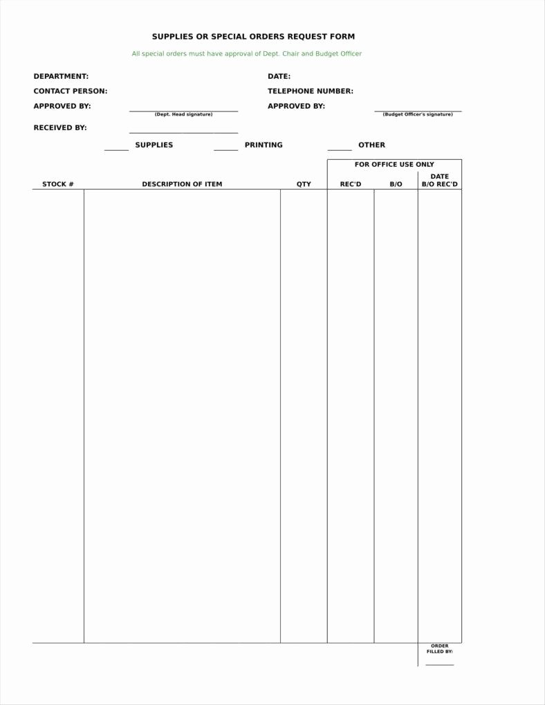 Blank order form Template Lovely 9 Equipment order form Templates