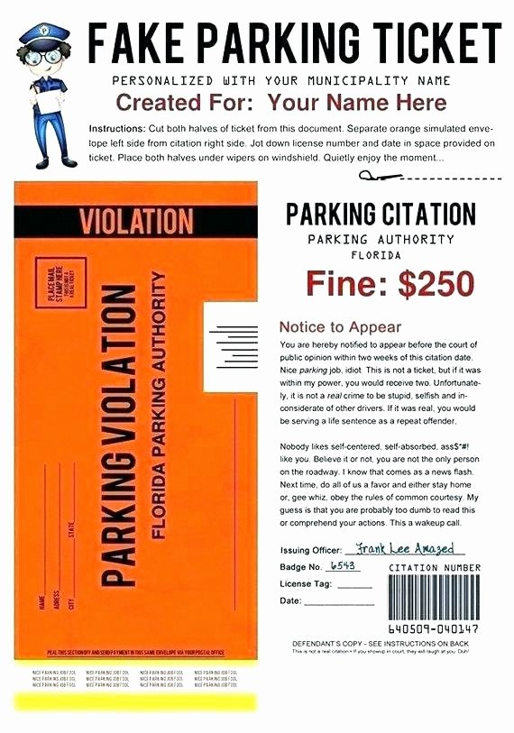 Blank Parking Ticket Template Beautiful Parking Ticket Template Word Medium Size Template