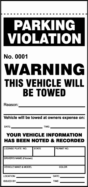 Blank Parking Ticket Template New This Vehicle Will Be towed Ticket Y6010 by Safetysign