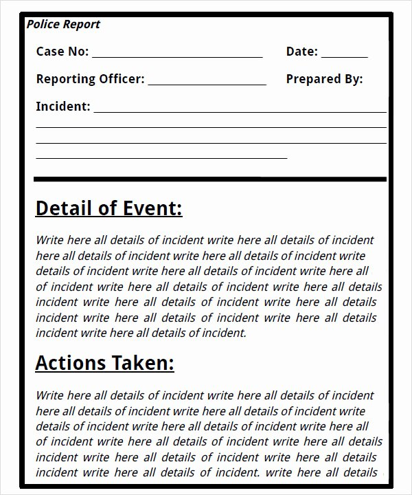Blank Police Report Template Awesome Best S Of Blank Police Report Pdf Blank Police