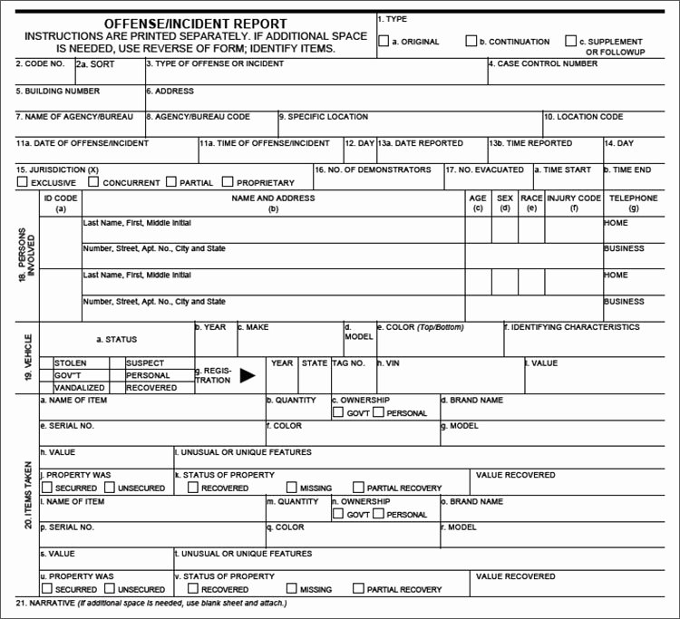 Blank Police Report Template Awesome Crime Report Template Sample Police Report Template Word