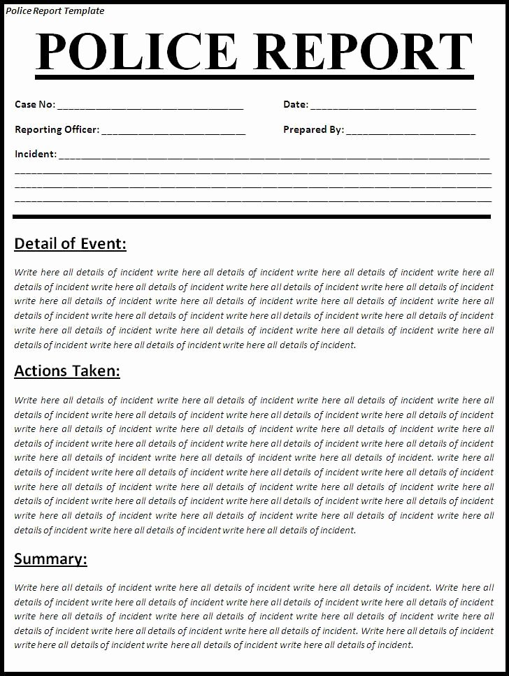 Blank Police Report Template Awesome Printable Sample Police Report Template form