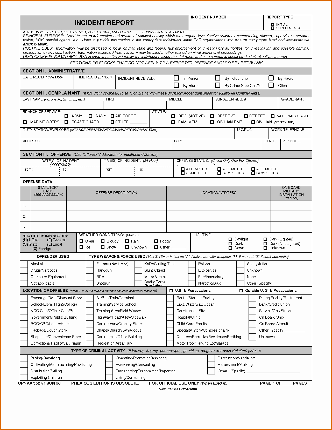 Blank Police Report Template Lovely 8 Blank Police Report