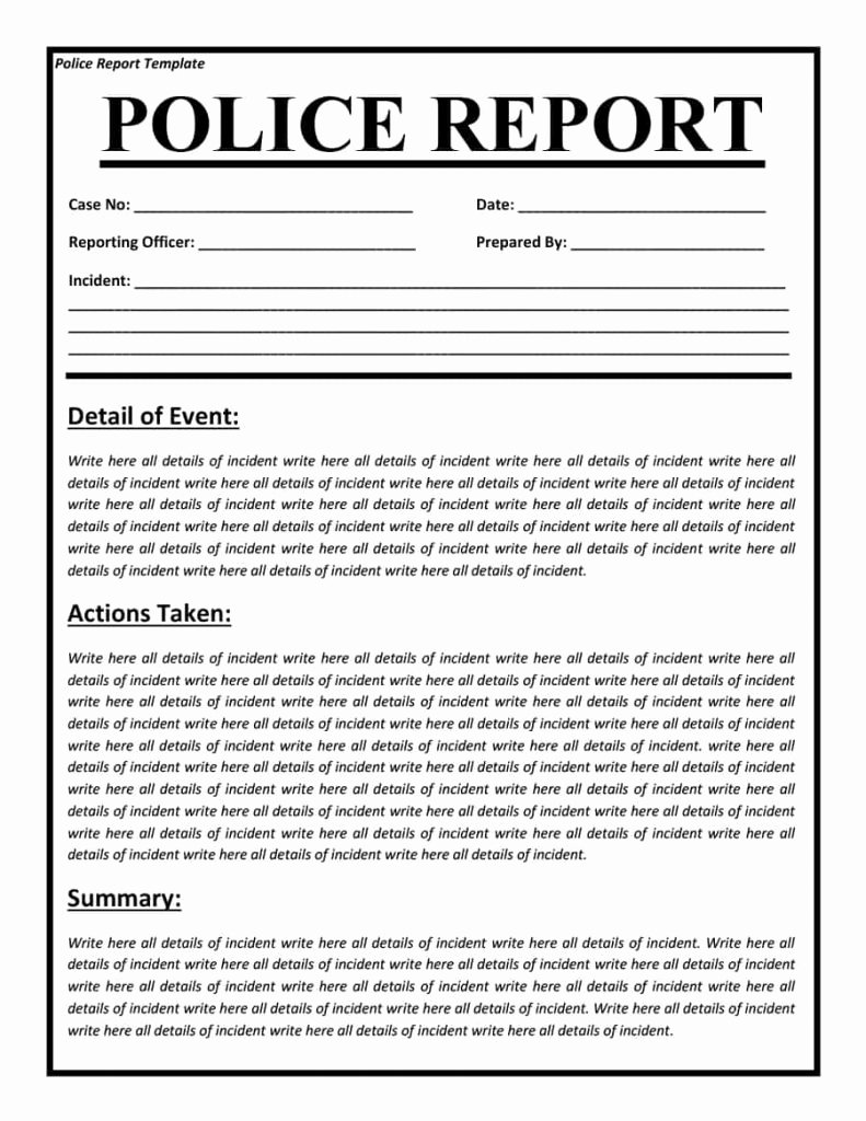 Blank Police Report Template Lovely Police Report Templates 8 Free Blank Samples Template