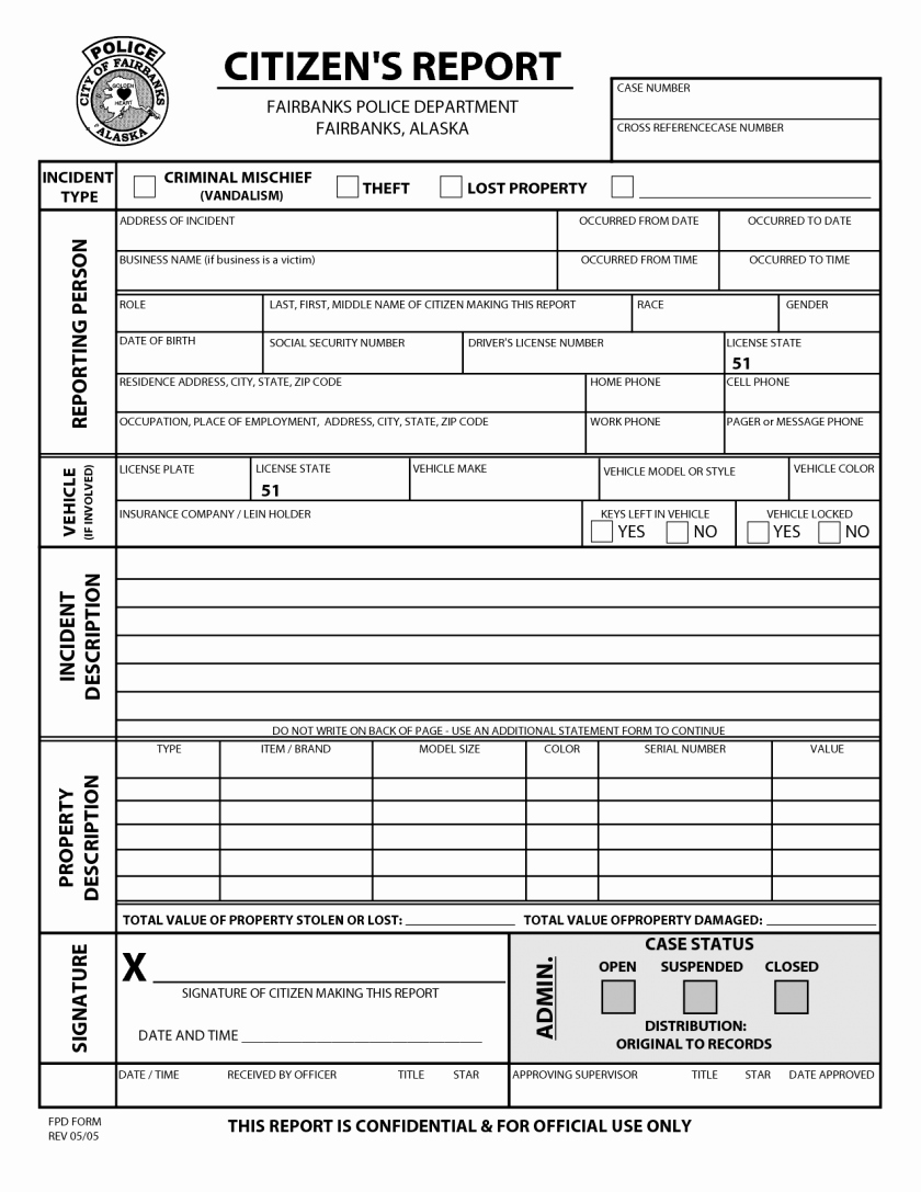 Blank Police Report Template New Blank Police Reportlate Witness Statement form Incident