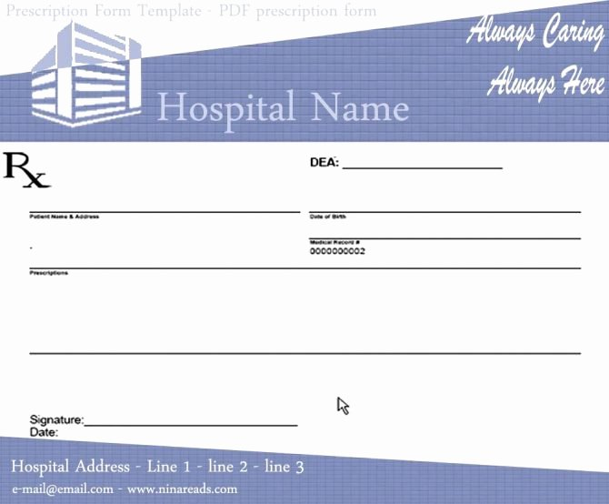 Blank Prescription Pad Template Awesome Medication Administration Record form organization