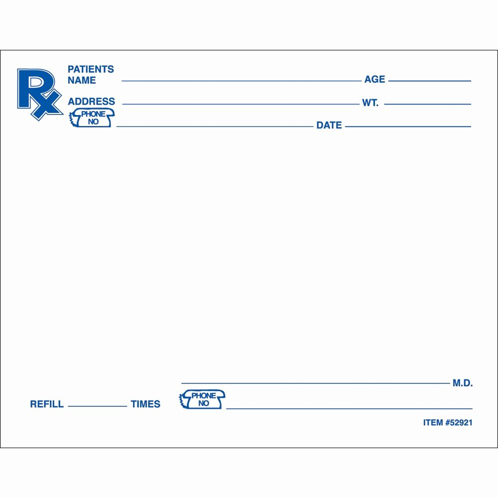 Blank Prescription Pad Template Unique Blank Prescription form