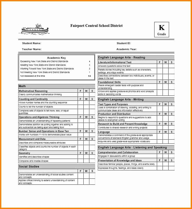 Blank Report Card Template Awesome 5 Blank Report Card Templates