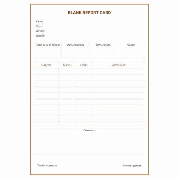 Blank Report Card Template Elegant 12 Report Card Template 6 Free Word Excel Pdf