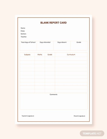Blank Report Card Template Elegant Free Report Card Templates