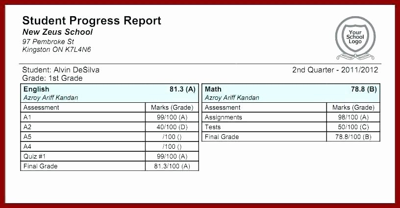 Blank Report Card Template Elegant Middle School Progress Report Template – Template Gbooks