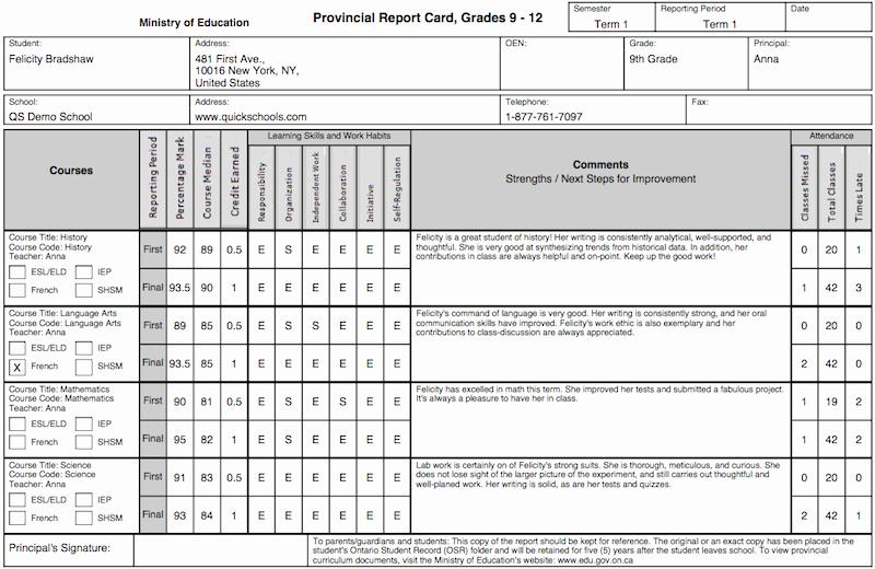 Blank Report Card Template Fresh the Tario Province Report Card Template
