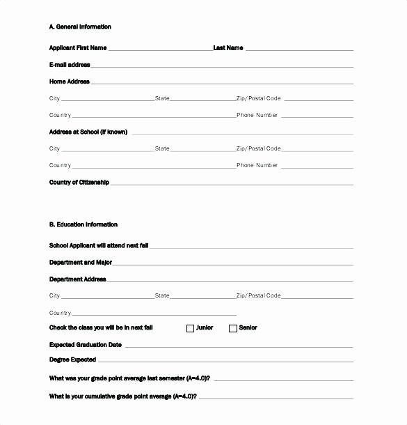 Blank Scholarship Application Template Elegant Blank Scholarship Application Template Bursary form