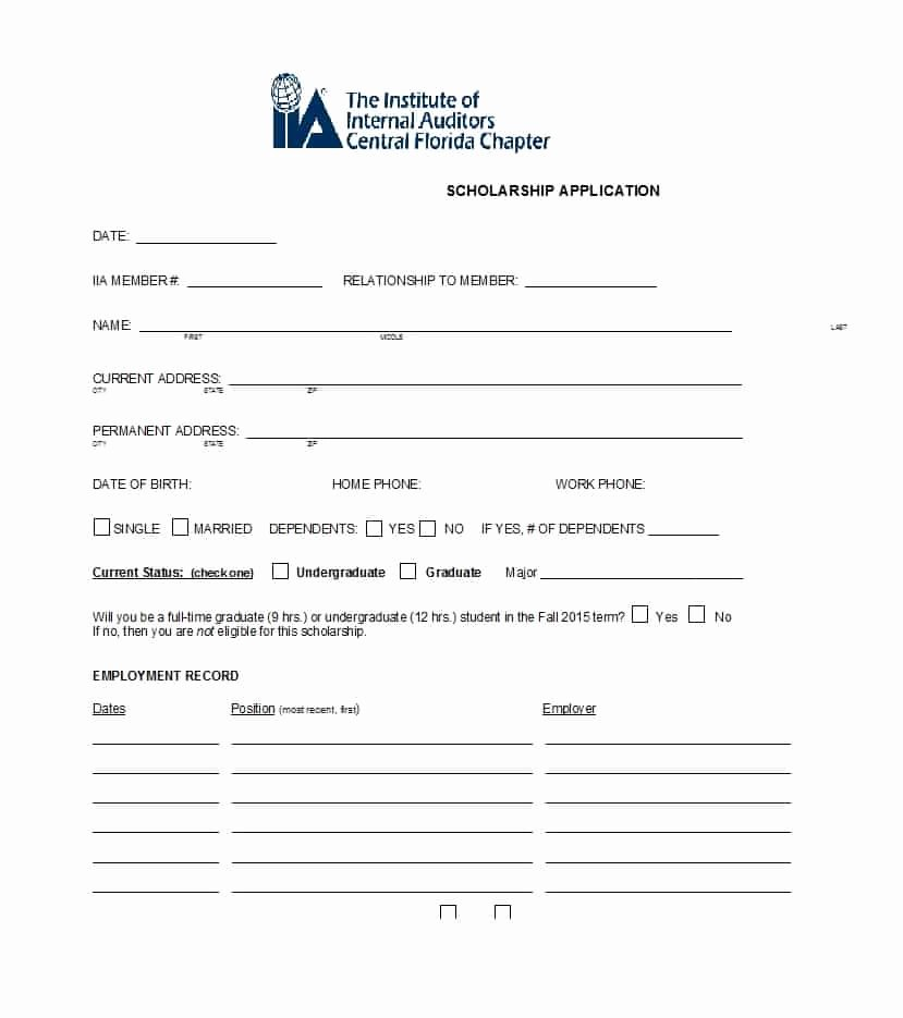 Blank Scholarship Application Template Inspirational 50 Free Scholarship Application Templates & forms