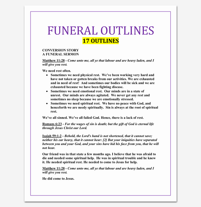 Blank Sermon Outline Template Awesome Sermon Outline Template 12 for Word and Pdf format