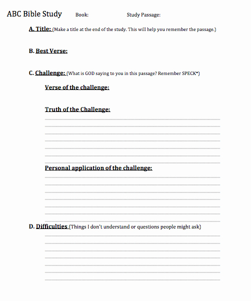 Blank Sermon Outline Template Fresh the Abc Method Of Bible Study – I M Listening to God