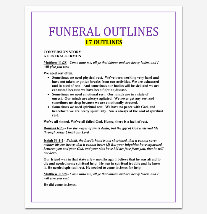 Blank Sermon Outline Template Lovely Sermon Outline Template 12 for Word and Pdf format