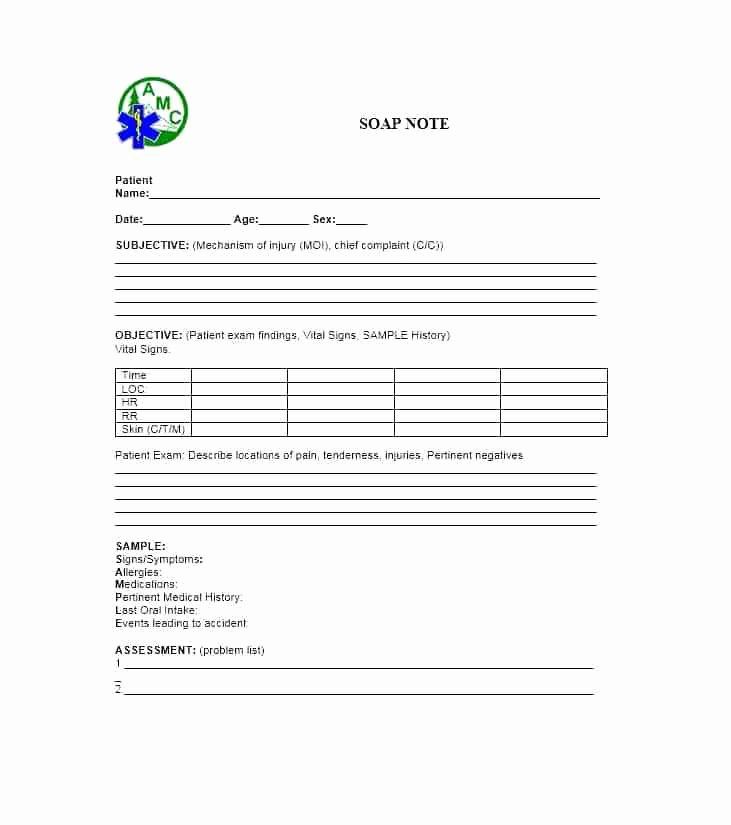 Blank soap Note Template Unique soap Note Template Blank Pdf Examples – Grnwav