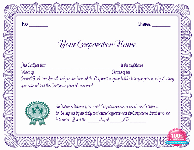 Blank Stock Certificate Template Best Of Blue Stock Certificate Template