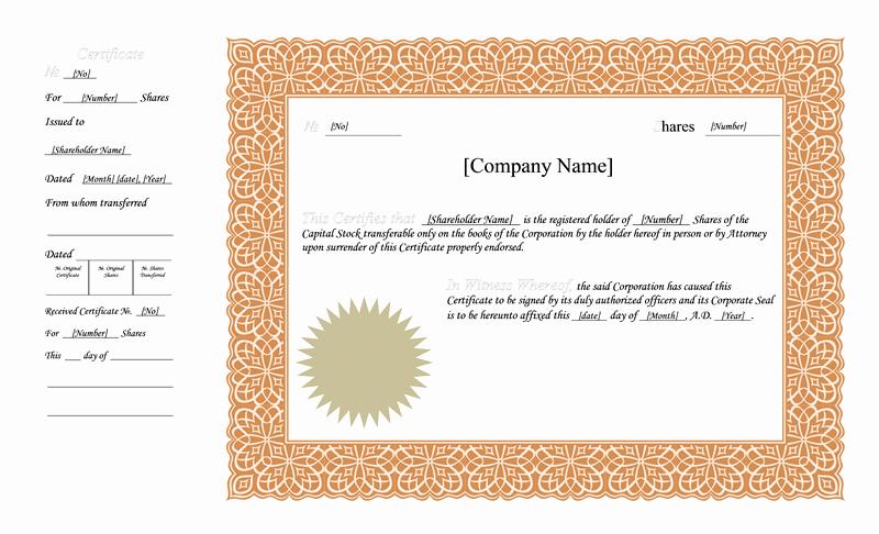 Blank Stock Certificate Template Fresh Blank Free Mon Stock Certificate Template Microsoft
