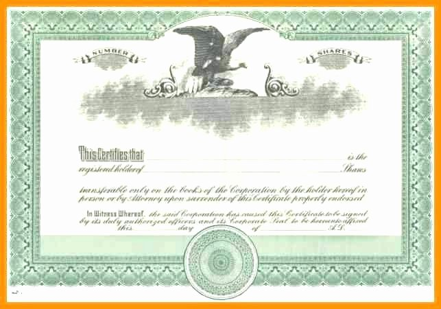Blank Stock Certificate Template Lovely Corporate Stock Certificate Template