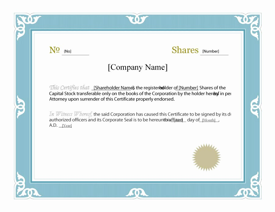 Blank Stock Certificate Template Luxury 40 Free Stock Certificate Templates Word Pdf